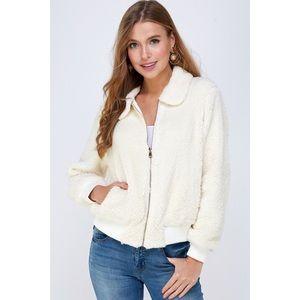 NWT Fluffy Zip Jacket